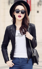 Women Motorcycle Pu Jacket Biker Coat Leather Jackets Short Outerwear Coat Black Intl Price Comparison