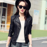 Buy Cheap Women Motorcycle Pu Jacket Biker Coat Leather Jackets Short Outerwear Coat Black Intl