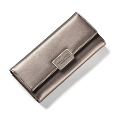 Price Women Multifunction Big Capacity Leather Zipper Wallet 2017 New Korean Style Long Wallet Silver Grey Intl Oem