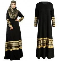 Women Muslim Maxi Dress Stripes Zipper Long Sleeves Abaya Kaftan Islamic Robe Long Dress Black -