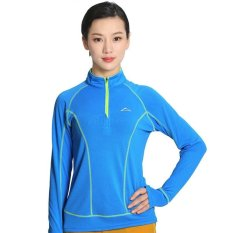 Price Women Outdoor Hiking Mountain Climbing Quick Dry T Shirts Long Sleeve Running Sport Wicking Athletic T Shirt 1 4 Zip Tops Blue Intl Oem