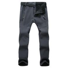 The Cheapest Women Outdoor Thick Windproof Trekking Ski Hiking Pants Fleece Waterproof Softshell Pants(Grey) Intl Online