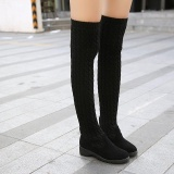 Best Women Over The Knee Boots Round Toe Pull On Riding Stretchy Knitted Long Shoes Intl