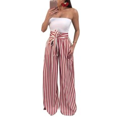 Where Can I Buy Women Pants Contrast Stripes Print High Waist Straight Wide Legs Bow Tie Casual Trousers Party Wear Intl
