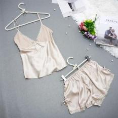 Review Women Pijamas Set S*Xy Sleepwear Rayon Silk Lace V Neck Spaghetti Strap Shorts Homewear Pijama Clothes For Women Pajama Set Plus Size Intl On China
