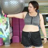 Deals For Women Plus Size Zipper Bra Sport Running Gym Yoga Gym Tank Tops Female Yoga Vest Bra Grey Intl