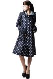 Buy Women Poncho Riding Knee Length Polka Dots Waterproof Hooded Raincoat Blue Oem Original