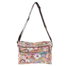 Discount Women Print Flower Shoulder Canvas Bag Pink Vakind