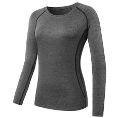 Sale Women Pro Cool Dry Body Shaper Yoga Sports Long Sleeve Compression T Shirt Running Fitness Gym Tight Tops Grey Intl Oem