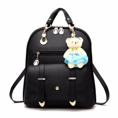 Best Rated Women Pu Leather Backpack Large Capacity Fashion Ladies Shoulder Bag Girls Schoolbag Casual Daypack Black Intl