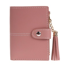 Women Pu Leather Button Tassel Short Wallet Card Coin Holder Clutch Purse(red) - Intl By Welcomehome.