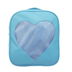 Low Price Women Pu Pvc Transparent Love Heart Shape Backpacks Girls Sch**L Bag Blue Intl