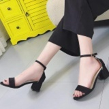 Women Pu Sandles Shoes With Thick Heel Strap Black Intl Free Shipping