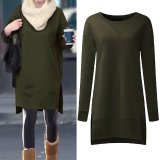 Women Pullovers Fleece Sweatshirts Hoodies Long Sleeve O Neck Split Casual Loose Solid Tops Blusas Plus Size S 5Xl Army Green Intl Coupon Code