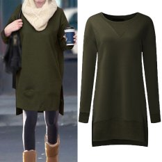 Compare Price Women Pullovers Fleece Sweatshirts Hoodies Long Sleeve O Neck Split Casual Loose Solid Tops Blusas Plus Size S 5Xl Army Green Intl Zanzea On China
