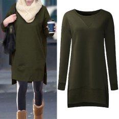 Women Pullovers Fleece Sweatshirts Hoodies Long Sleeve O Neck Split Casual Loose Solid Tops Blusas Plus Size S 5Xl Army Green Intl Zanzea Cheap On China