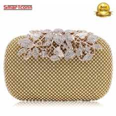 Top Rated Women Rhinestone Studded Flower Diamond Bags Lady Wedding Clutch Party Purse Silver Gold Black Small Intl