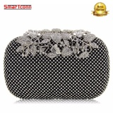 Recent Women Rhinestone Studded Flower Diamond Bags Lady Wedding Clutch Party Purse Silver Gold Black Small Intl