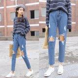 Store Women Ripped Jeans Knee Holes Pants High Waist Nine Jeans Korean Street Fashion Nine Jeans Slim Lady Pants Intl Oem On China