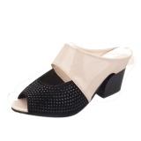Women Sandals Rhinestone Thick Mid Heel Open Toe Color Block Decoration Sandals Intl Discount Code