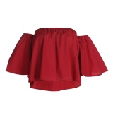Compare Prices For Women S*xy Casual Off Shoulder Tops Short Sleeve Blouse Shirt Red S Intl