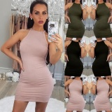 Sale Women S*Xy Sleeveless Slim Tunic Bodycon Evening Club Cocktail Short Mini Dress Army Green Intl Oem Online