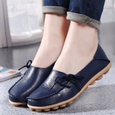 Best Women Shoes Leather Beanie Flat Shoes Summer Spring Autumn Slip On Knot Non Slip Woman Ladies Soft Loafers Flats Dark Blue Intl Intl