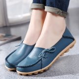 Women Shoes Leather Beanie Flat Shoes Summer Spring Autumn Slip On Knot Non Slip Woman Ladies Soft Loafers Flats Light Blue Intl For Sale