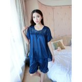 Best Buy Women Silk Cute Short Sleeved Lace Collar Home Clothing Pajamas Pyjamas Blue Intl