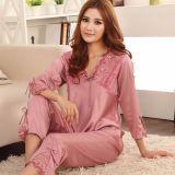 Low Price Women Silk Satin Pyjamas Set Sleepwear Shirts Pants Red V Neck Nightwear Intl