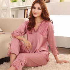 Top Rated Women Silk Satin Pyjamas Set Sleepwear Shirts Pants Red V Neck Nightwear Intl