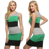 Where Can I Buy Women Sleeveless Striped Contrast Color Patchwork Dress