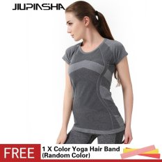 Women Splicing Color Sports Shirt Short Sleeve Yoga T Shirt High Elastic Quick Dry Compression Running Tops Intl Price