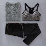 Best Deal Women Sport Fitness T Shirt Bra Pants Three Piece Set Ladies Yoga Gym Running 3Pcs Sets Grey Intl