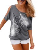 Women Strapless Feather Printed Short Sleeved T Shirt Casual Tops Loose Blouse Gray Deal