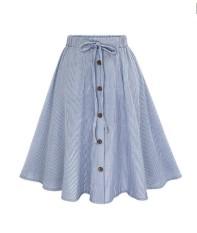 Who Sells The Cheapest Women Stripe Single Breasted Lace High Waist Plain Skater Flared Skirt Intl Online