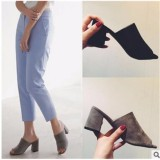 Retail Women Suede Open Toed Sandals Thick With Slippers Intl