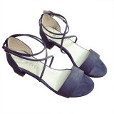 Price Women Suede Strappy Lace Up Thick Heel Sandals Shoes Gray Oem New