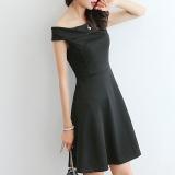 Low Cost Women Summer Off Shoulder Slim Dress Party Casual Sleeveless Ladies Elegant Mini Dresses Intl