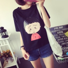 Lowest Price Women Summer Short Sleeve Casual Black Print T Shirt Shirt Top Intl