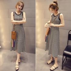 Women Summer Sleeveless Stripe Dress Intl Coupon