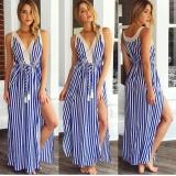 Cheapest Women Summer Sleeveless Stripe Maxi Dress Intl