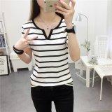 Women Summer V Neck Casual Striped Tee T Shirt Intl Deal