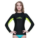 Women Swimwear Swimsuit Spring Autumn Rashguard Snorkeling Diving Surf Windsurf T Shirts Tops Long Sleeve € Black Coupon
