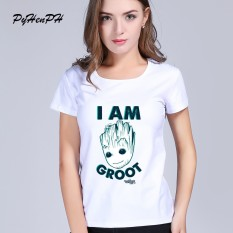 Women T Shirt Fashion Kawaii Guardians Of The Galaxy 2 Anime Baby Groot New 2018 Cotton In Women White 003 Intl China