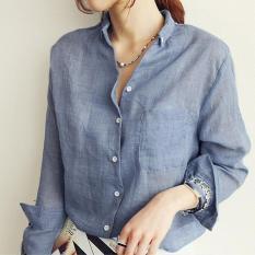 Buy Cheap Women Tops Autumn Linen White Shirt Ladies Long Sleeve Blouse Korean Woman Clothes For Female Blue Intl