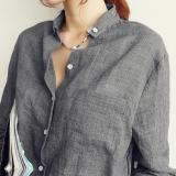 Purchase Women Tops Autumn Linen White Shirt Ladies Long Sleeve Blouse Korean Woman Clothes For Female Grey Intl Online