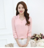 Women Tops Long Sleeve Casual Lace Chiffon Blouse Female V Neck Work Wear Solid Color Office Shirts For Women 3Xl Pink Intl Lower Price