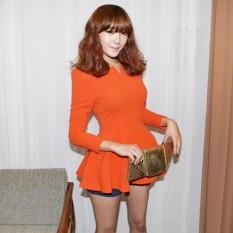 Women Tops V Neck Long Puff Sleeve Peplum Ruffle Hem Zipper Slim Fit Elegant South Korea T Shirt Intl Lowest Price