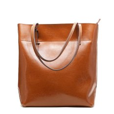Buy Women Tote Bags 100 Genuine Cow Leather Fashionable Handbags Casual Shoulder Bags Purses Brown Intl Online